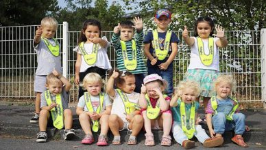 Kindergarten-children-say-thank-you-for-safety-vests